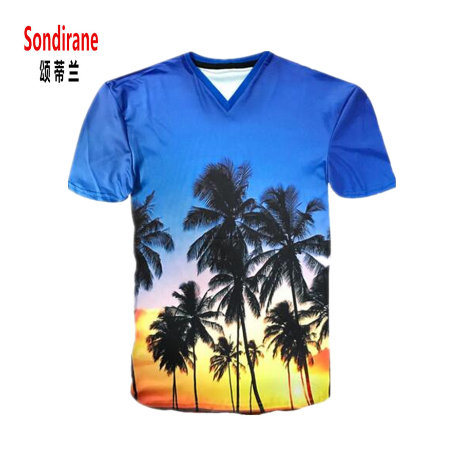 T shirt design hawaii - Sondirane Hawaii Island Sunset Dusk Sky Print 3d Palm Tree T Shirts Male Fashion Personality T Shirt Summer Hip Hop Tops Tees