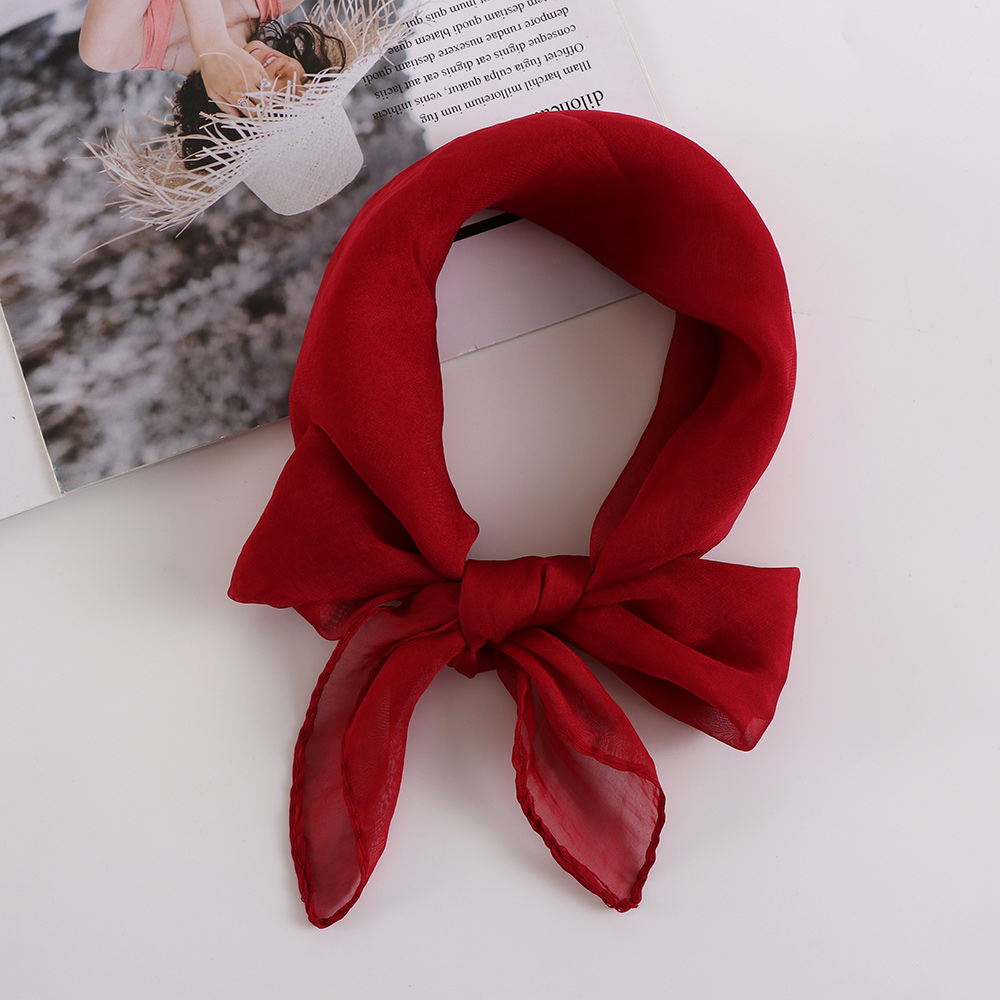 70*70cm Women Girl Autumn&Winter Fashion Silk Square   Scarf     Wrap   Chiffon Shawl Hair Tie Band Warm Multi-Color Neckerchief Gifts