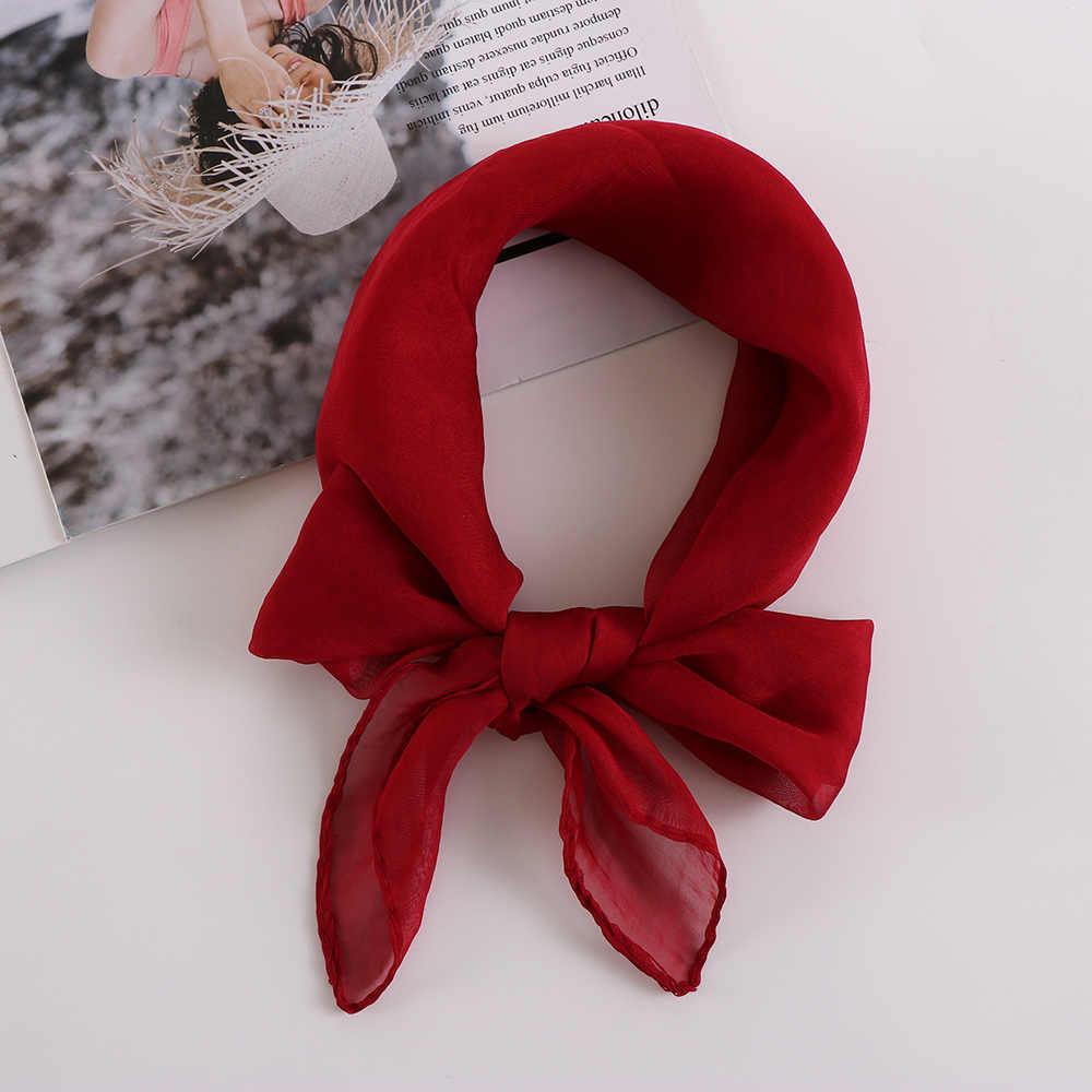 70X70CM Fashion Solid Color Women Square Scarf Fake Silk Wraps Elegant Floral Spring Summer Head Neck Hair Tie Band Neckerchief