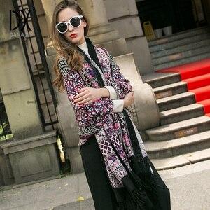 Image 2 - Moda szaliki i szale duży szalik luksusowej marki wełny Wrap muzułmański hidżab Poncho szalik z pledu indie chustka osłona twarzy
