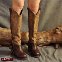 2016 прохладно пряжки толстые каблуки сапоги из воловьей кожи комфортно классический цвет блока украшения высокого ног сапоги из натуральной кожи ботинки женщин