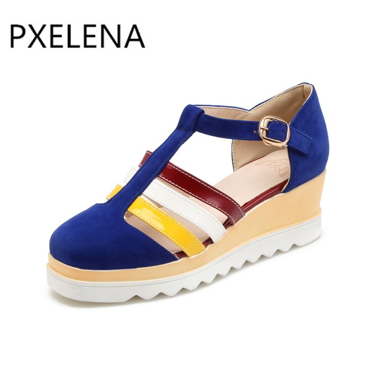 Forme Haute Chaussures Talons Melange Plate Sangle Pxelena Bleu