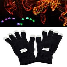 New 7 Mode LED Rave Flashing Gloves Shinning Gloves Glow Light Up Finger Lighting Black Z