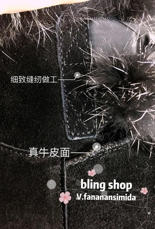 Fourrure En Neige De Lapin Noir Manuel Hiver Bottes Diamant Heavy 2018 Cuir Duty Femme Sauvage Chaud Strass Boule Nouveaux wvqTfBw