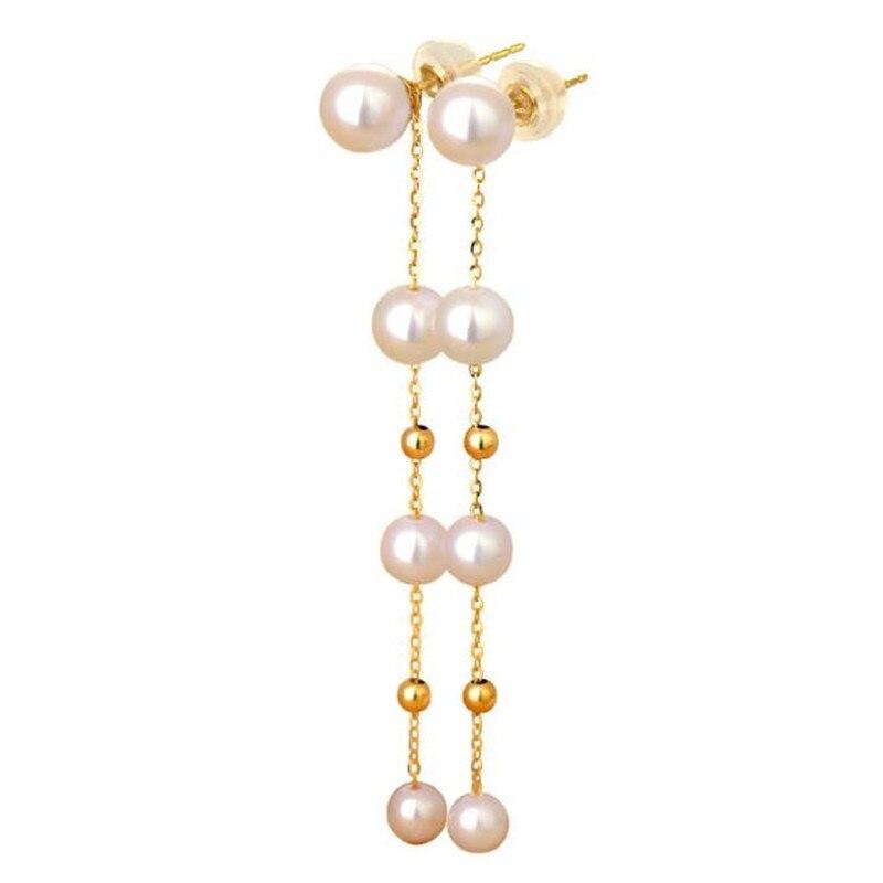 Elegant Created 18K Gold 5.5-7mm Freshwater Pearl Long Earrings Pearls String Statement Dangle Earrings For Wedding Party Gift faux pearls long chain earrings