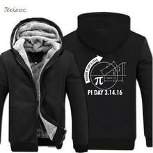 Round It Up Math Graph Pi Day Science Hoodie 2018 Winter Warm Fashion Fleece Sweatshirts Men Thick Zip Hoodies Jackets Mens