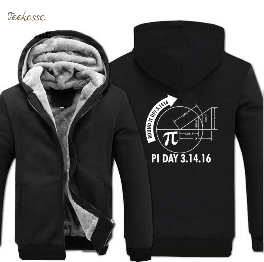 Round It Up Math Graph Pi Day Science Hoodie 2018 Winter Warm Fashion Fleece Sweatshirts Men Thick Zip Up Hoodies Jackets Mens
