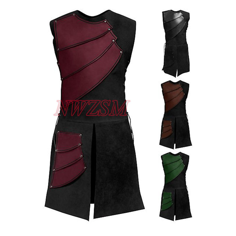 Adult Men Medieval Clothing Round Neck Sleeveless Vintage Stitching Clothing Victorian Top Jacket Outfit Costume