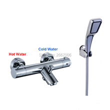 Free shipping New Design Chrome Water Spout Faucet Set Thermostatic Valve Control Mixer Tap with Hand Shower Wall Mount ZR1000