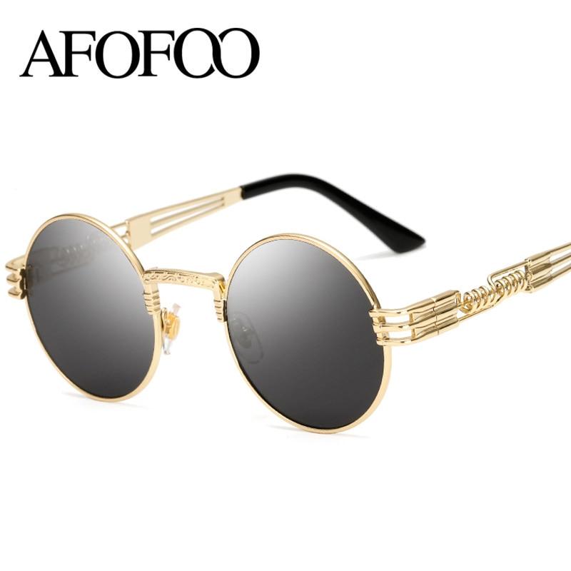 AFOFOO Fashion Round Sunglasses Steampunk Metal Men Glasses Luxury Brand Designer Women Coating Mirror Sun Glasses UV400 Shades