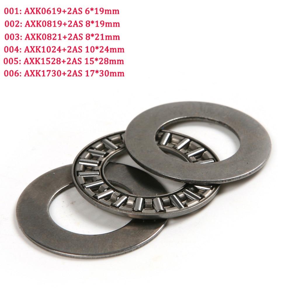 A Set Steel Thrust Bearing AXK0619/AXK0819/AXK0821/AXK1024/AXK1528/AXK1730+2AS Ultra Thin Flat Thrust Needle Roller Bearings axk100135 2as thrust needle roller bearing with two as100135 washers 100 135 6mm 1 pcs axk1120 889120 ntb100135 bearings