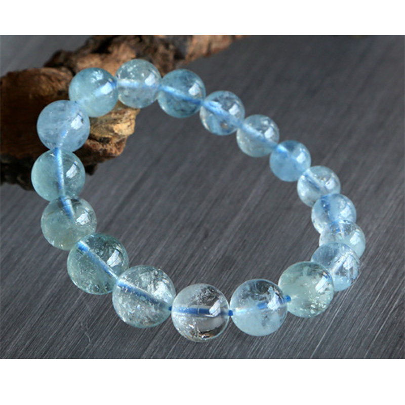 цены Natural Genuine Blue Beryl Aquamarine Stretch Bracelets Round Beads 9-13mm 02764
