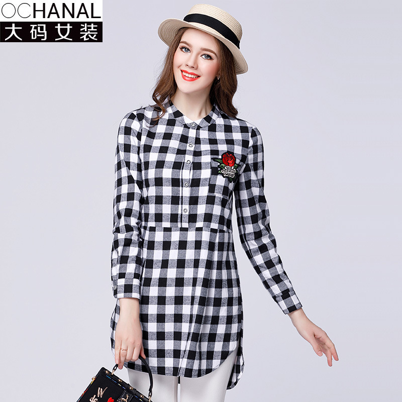 2017 large size women cotton plaid shirt women checked shirts rose  embroidery loose black and white - Popular Womens Black And White Check Shirt-Buy Cheap Womens Black