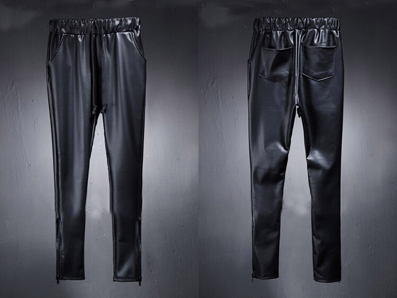 Fashion Men's Punk Rock Armor Simple PU Faux Leather Tie Zip Ankle Pants  Long Trousers Full Length Pants M-2XL 24