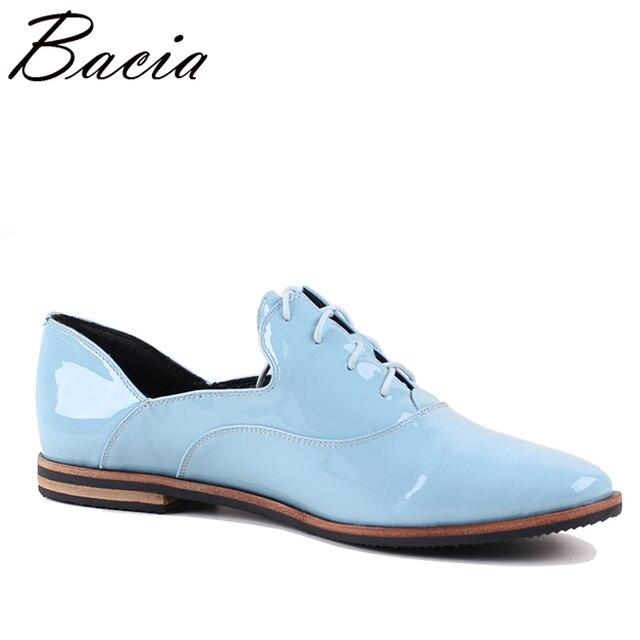 Bacia New Handmade shoe 2017 Blue Loafers Women Shoes Casual Work Driving Shoes Women Flats Genuine Leather Flat Plus Size SB068