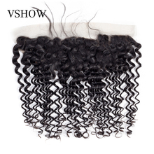 VSHOW Peruvian Deep Wave 13x4 Lace Frontal Remy Human Hair Pre Plucked Frontal Closure With Baby Hair Ear To Ear Swiss Lace стоимость