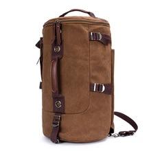 Leinwand Männer Rucksack Leder Vintage Daypack Reise Casual Zylindrischen taschen Marke Männlichen Laptop Rucksack 2017