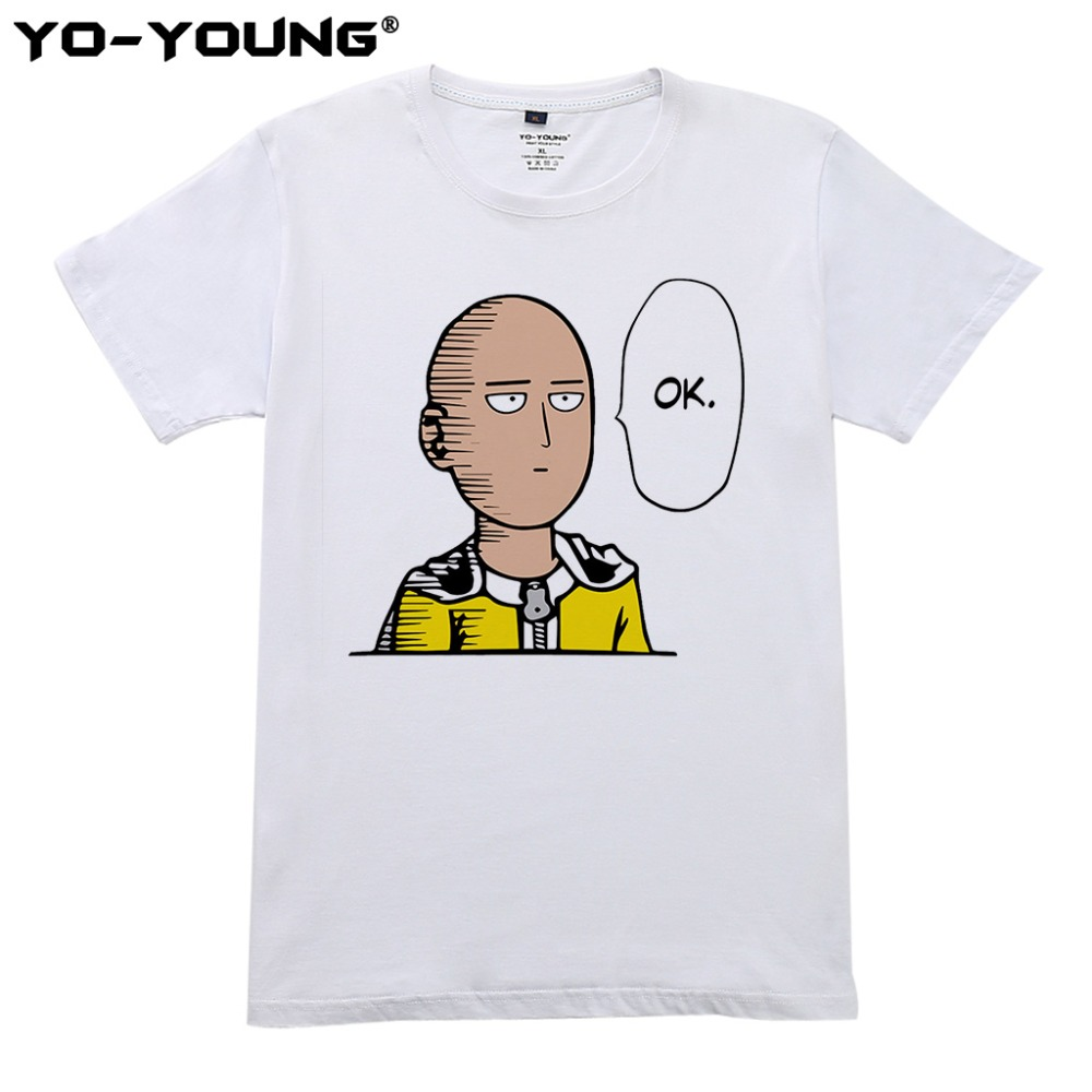 Anime One Punch Man Saitama Mens T Shirts Digital Printing 100% 180g Combed Cotton Casual Tees Homme Short Sleeve Customized