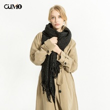 [OuMo] brand fashion scarf women's shawl Winter pleated tassel wool Female designer Windproof large size 205*57cm
