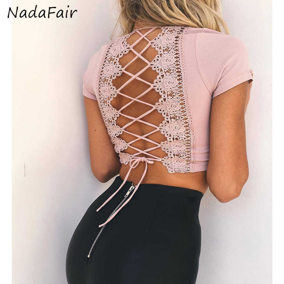 Nadafair Zomer Kant Sexy Crop Tops Vrouwen V-hals Korte Mouwen Hollow Out Cross Casual Tops 2019 Wit Zwart Roze sexy T-shirt