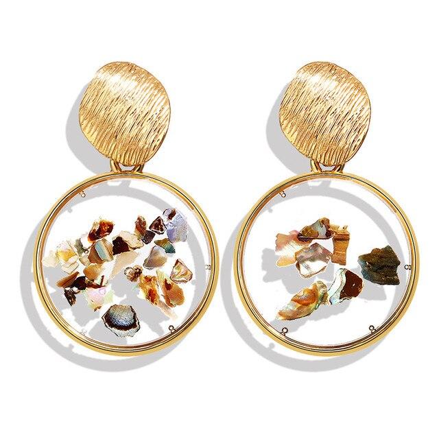 Vintage Earrings 2019 Geometric Shell Earrings For Women Girls BOHO Resin Drop Earrings Brincos Fashion Tortoise Jewelry 5
