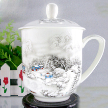 Free shipping Ceramic Cup,Jingdezhen bone china cup with lid,Office individual Handpainted cup