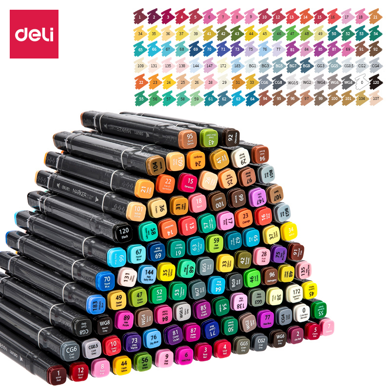 Deli 36 48 60 80 108 Colors Art Markers Alcohol Based Markers Drawing Pen Set Manga Dual Headed Art Sketch Marker Design Pens in Art Markers from Office School Supplies