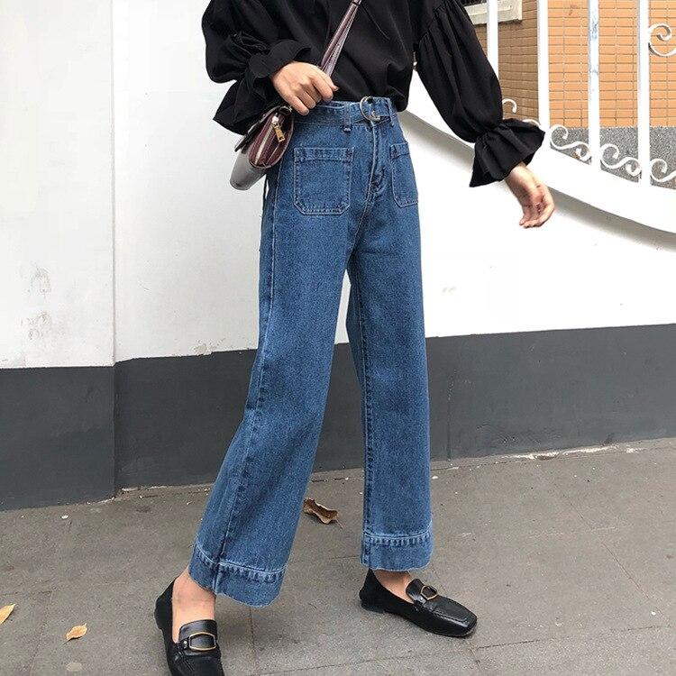 2018 summer new women High waist slim strap student wild loose chic wide leg jeans 1