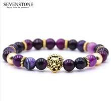 SEVENSTONE Fashion Hip Hop Chariki Reiki 8MM Natural Stone Rock Stainless Steel Golden Lion Head Alloy Women Bracelet for Lovers