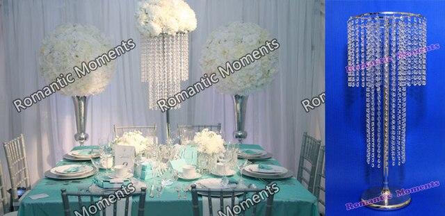 Free Shipping 8pcs Lots Acrylic Crystal Wedding Centerpiece Table Flower Vase 74CM