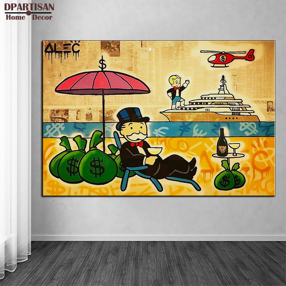 DPARTISAN red Helicopter Alec monopoly Graffiti arts print canvas ...