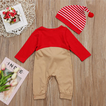 CANIS 2017 Xmas Newborn Baby Boy Girls Clothes Christmas Reindeer Long Sleeve Romper+Hat Playsuit Outfit Baby Clothing 0 to 24M
