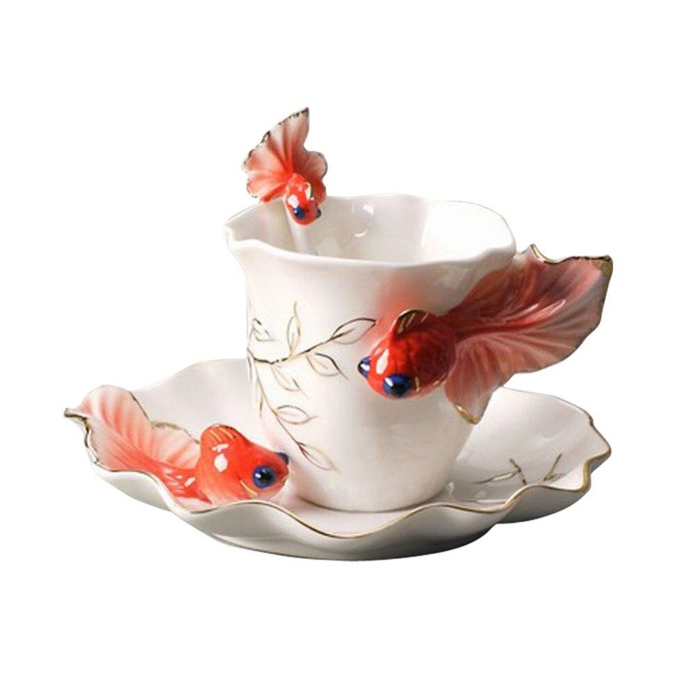 Creatieve Thee Kopjes Delicate Koffie Sets Goudvis Koffiekopjes Pak Keramische Francs Gekleurde Tekening Of Patroon Mooi Fashion Van Hoge Kwaliteit