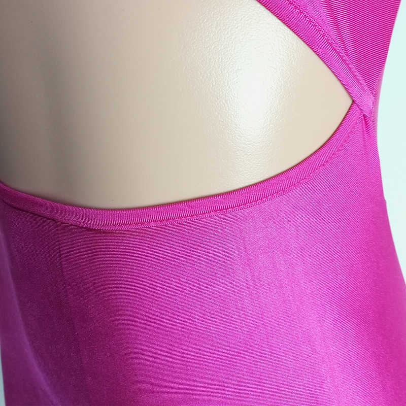 Спереди вырез стрейч розовый детский комбинезон сексуальные костюмы сплошной облегающий костюм комбинезон без бретелек с открытыми плечами открытая Клубная одежда наряд