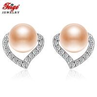 FEIGE Fashion Heart Earrings Real 925 Silver Stud Earrings 6 7mm Pink Natural Freshwater Pearl Earring for Women Fine Jewelry