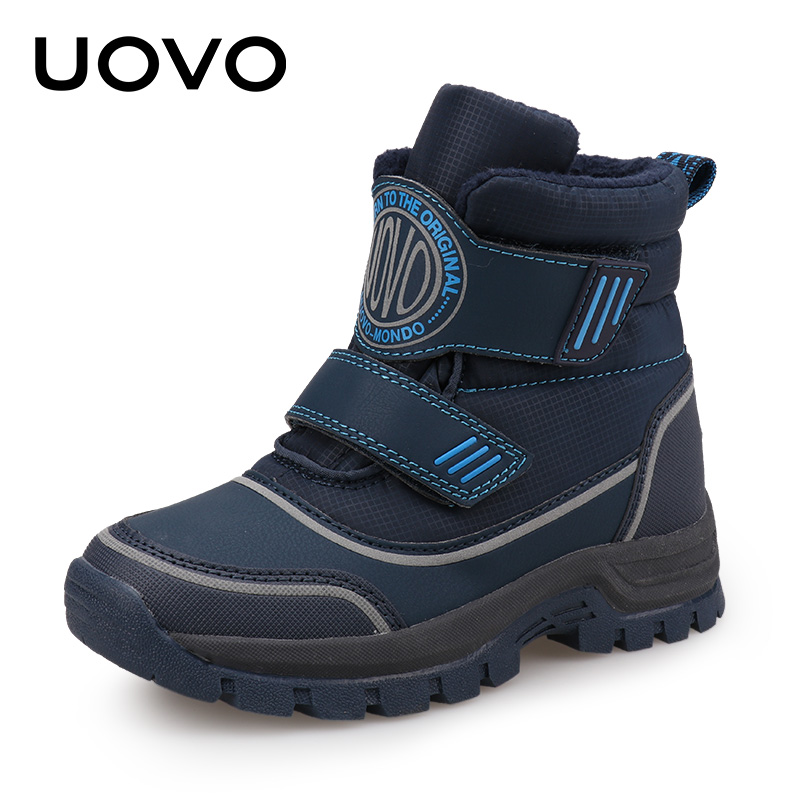 UOVO 2018 New Kids Fashion Boots Hook and Loop Closure Sporty Kids Shoes Warm and Comfortable Boys Boots for eur size 26# 39#