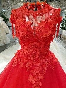 Image 5 - CloverBridal bestsellerem lista alibaba sklep detaliczny suknia dla panny młodej księżniczka piętro długość różowe liście kryształowe frędzle ramiona