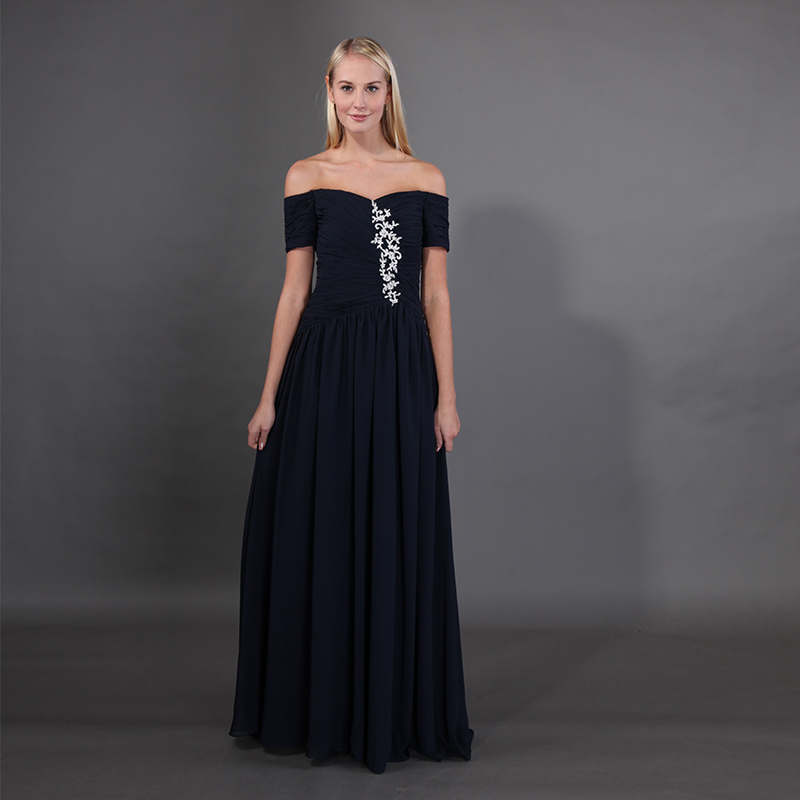 Off The Shoulder Navy Blue Mother Of The Bride Dresses Short Sleeveless Pleats Chiffon Hot Sale Mother Of The Bride Dresses