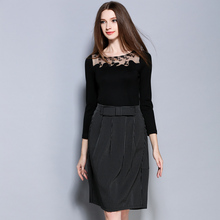 2016 autumn fashion lace yarn splicing top shirt+striped Pencil dress suit Elegant OL gentlewoman dress set office clothing 2182
