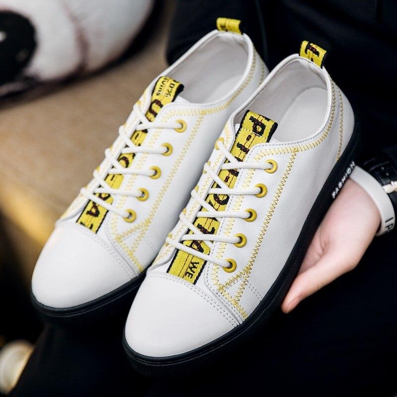 2018 גברים נעלי גופר מזדמנים שרוכים נעליים שטוחות נוחות בוהן עגול לבן סניקרס גברים זכר שחור נעלי Sapatillas hombre