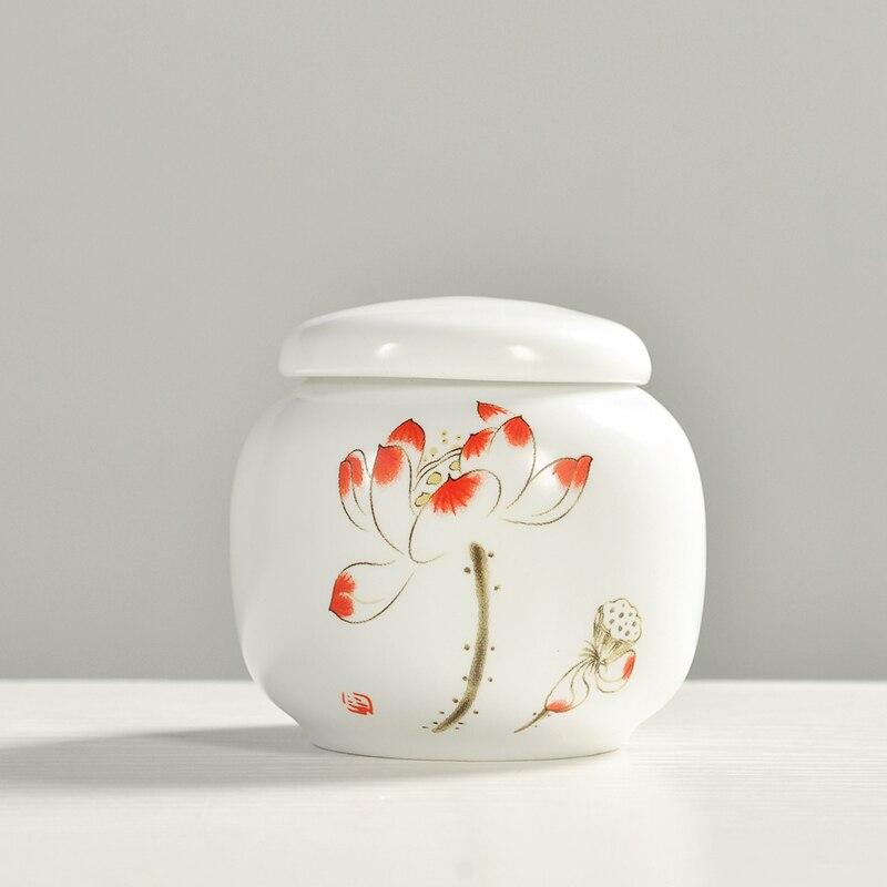 Tetera de cerámica Pequeño bote kung fu tanque de almacenamiento de té apliques impresión gcaddy nueva llegada