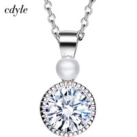 Cdyle Fashion Necklace Women Pendants Elegant Austalian Rhinestone Paved S925 Sterling Silver Jewelry Australian Rhinestone