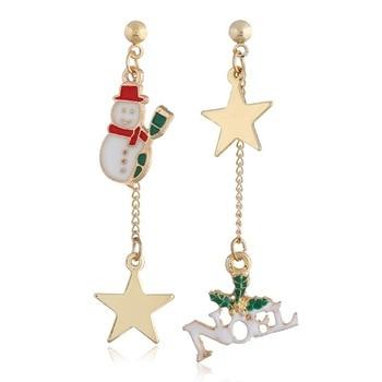 Fashion jewelry Earrings for women jewelry snowman charm Asymmetrical long earrings Christmas Gift NE211