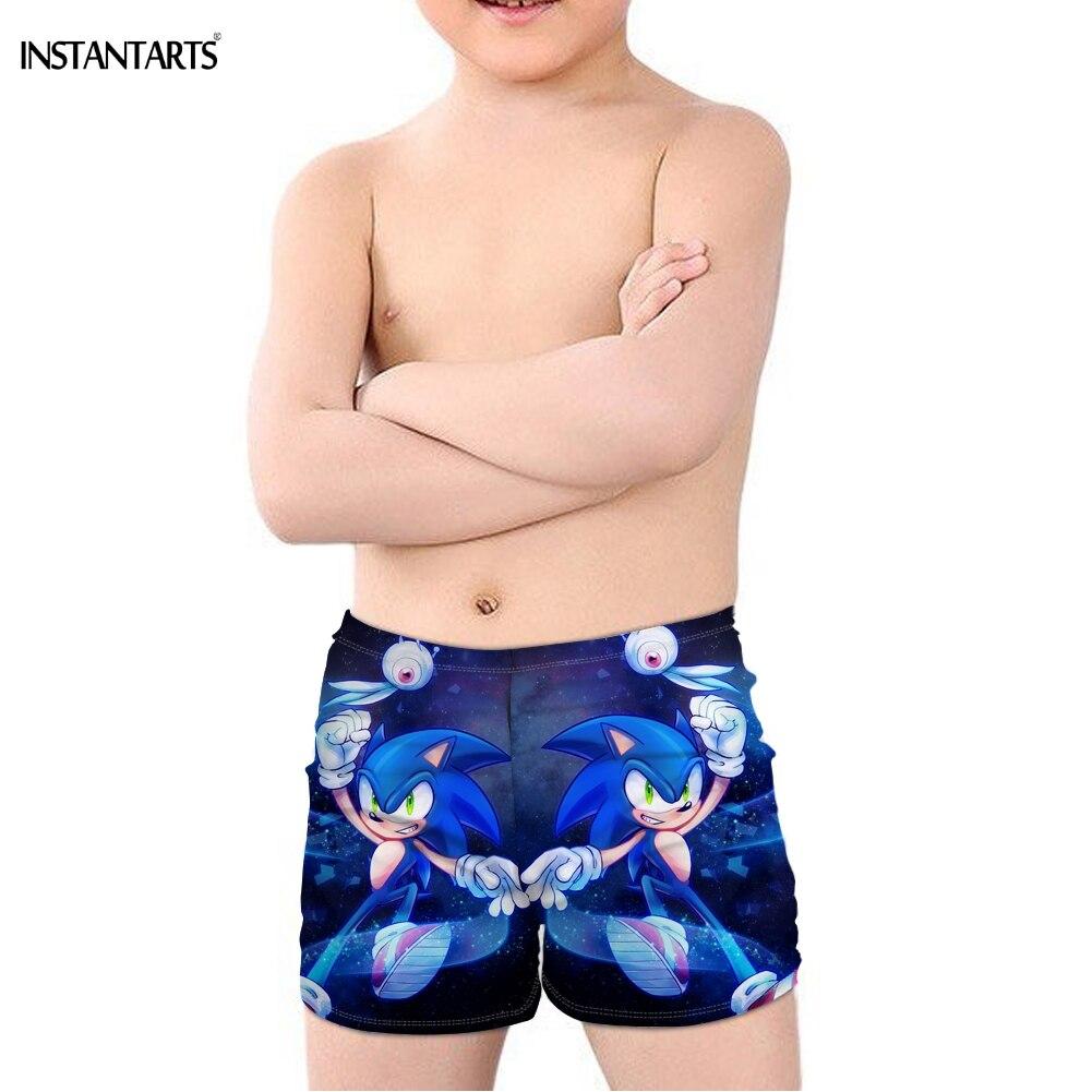 INSTANTARTS 2019 New Hot Anime Sonic The Hedgehog Print Kid Boys' Swimming Trunks Bathing Beach Swimsuit Cartoon Summer Swimwear