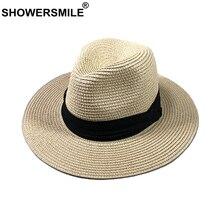 SHOWERSMILE Vintage Hat Men Summer Panama Straw Women Retro British Fedora Sunshade Solid Beige Casual Beach Unisex Jazz