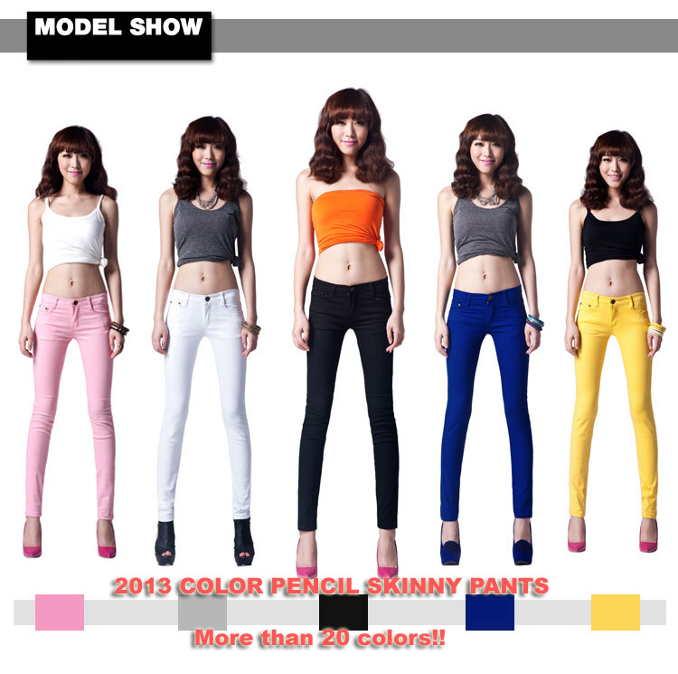 2016 Best Sales Women s Sexy Candy Solid Pencil Pants Slim Skinny Stretch  Jeans Trousers Top Level Model 21 Colors 6 Sizes W099 25b2e68503