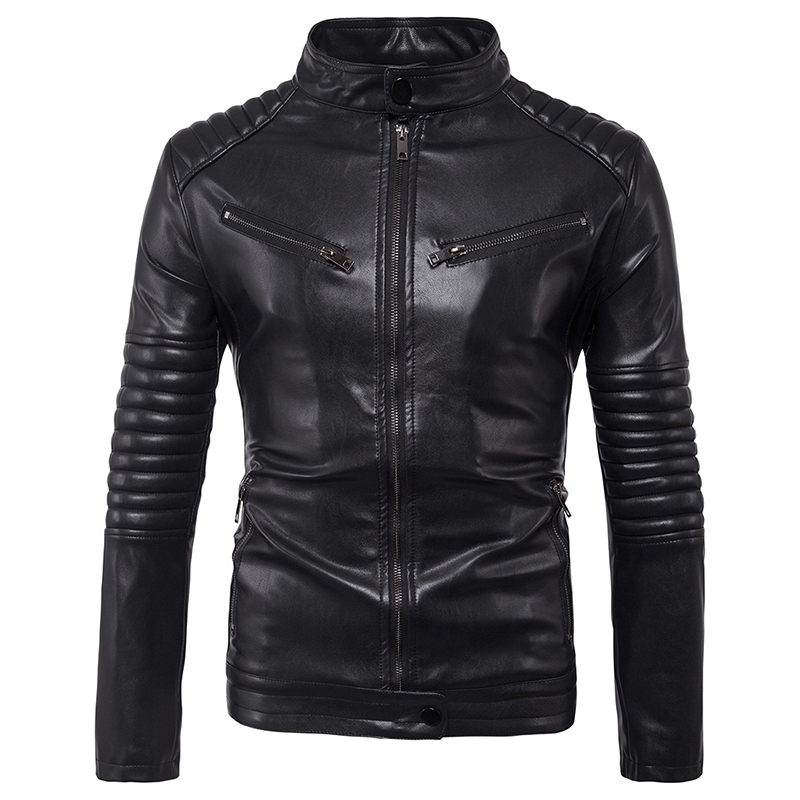 Men puff sleeve business casual leather clothes stand neck new autumn and winter coat zipper wristband Leather jacket size M-5XL