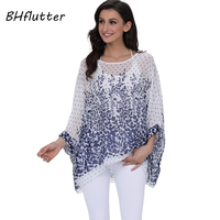 BHflutter New 2018 Women Blouses Floral Print Casual Loose Summer Shirts Batwing Sleeve Brief Chiffon Tops