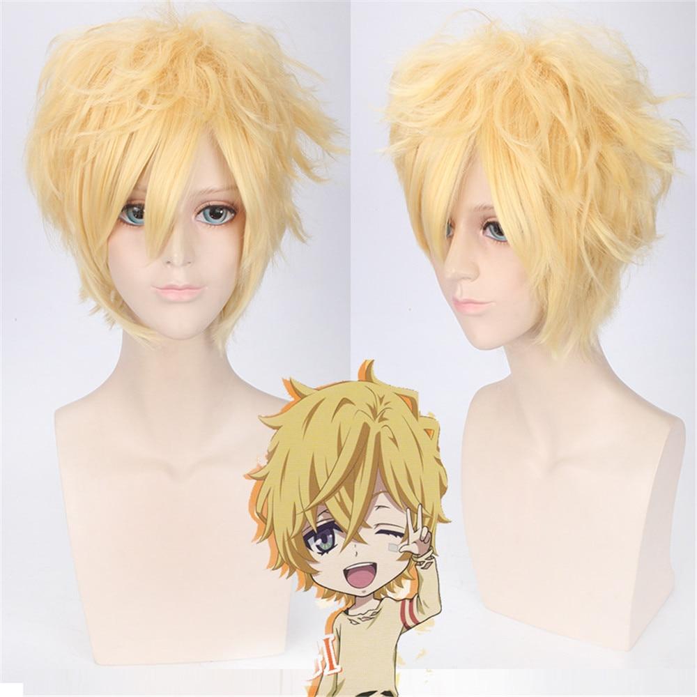 Karneval YOGI Wig Cosplay Man Boys Short Curly Fake Hair Wig Sale 30cm High Quality Heat Resistant Synthetic Blond Wig Halloween