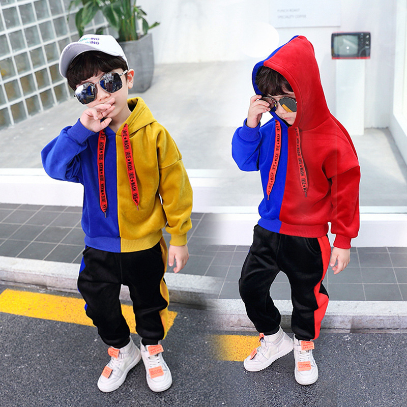 Boys Hooded Long Sleeve Velvet Windbreak Color Patchwork Hoodie Clothing Sets Fashion Sports Clothing Sets